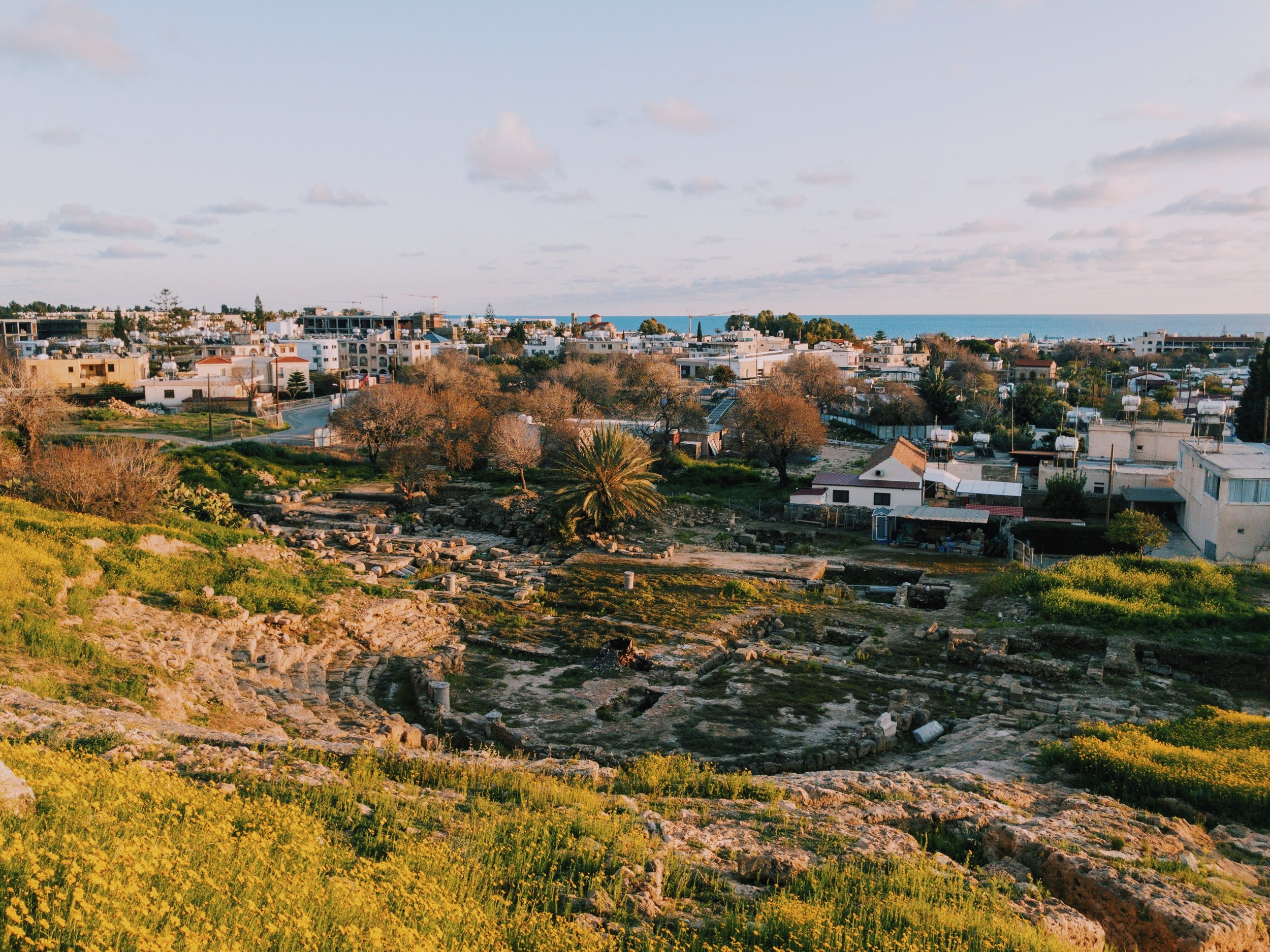 The panoramic view on Pafos from the Fabrica Hill.