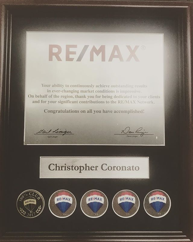 Great add this to the office wall! I received a 100% Club Award today from RE/MAX for my 2017 productivity. Awarded to brand agents for achieving levels of productivity that are more than double the industry average. Always excited to help my connections navigate the housing market! #chriswillclose #racingrealtor #realtor #realestate #njrealtor #njrealestate #realtorlife #racingrealtor201