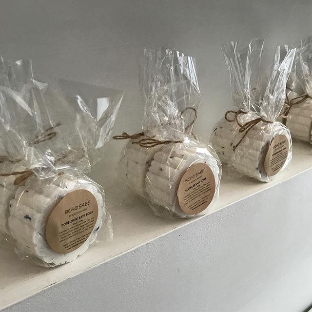 BOHO BABE products stocking the shop with the sweetest scents ( lavender, double mint, rose..) bath bombs!