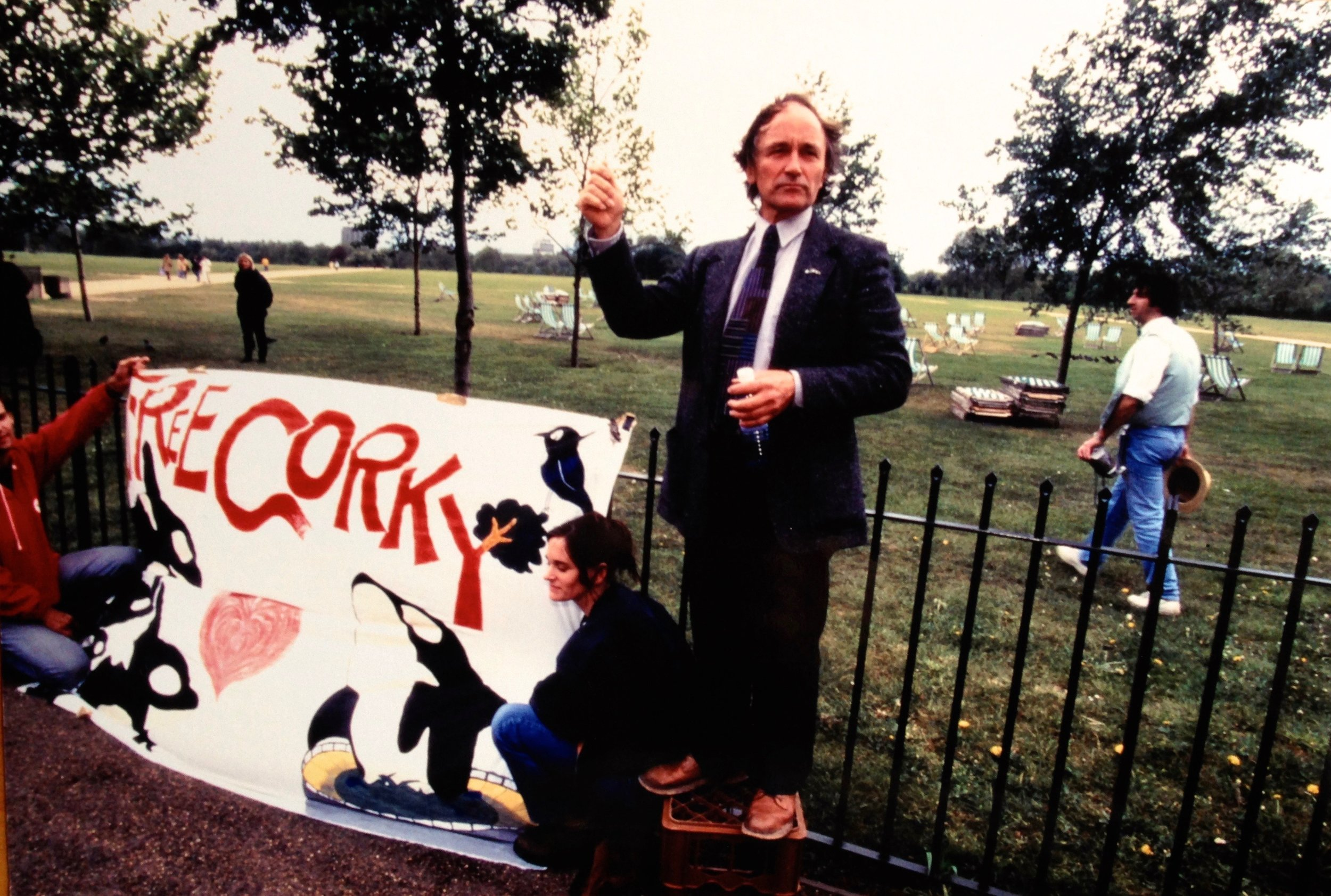 Dr. Paul Spong with the Corky Banner in London, England in 1997.
