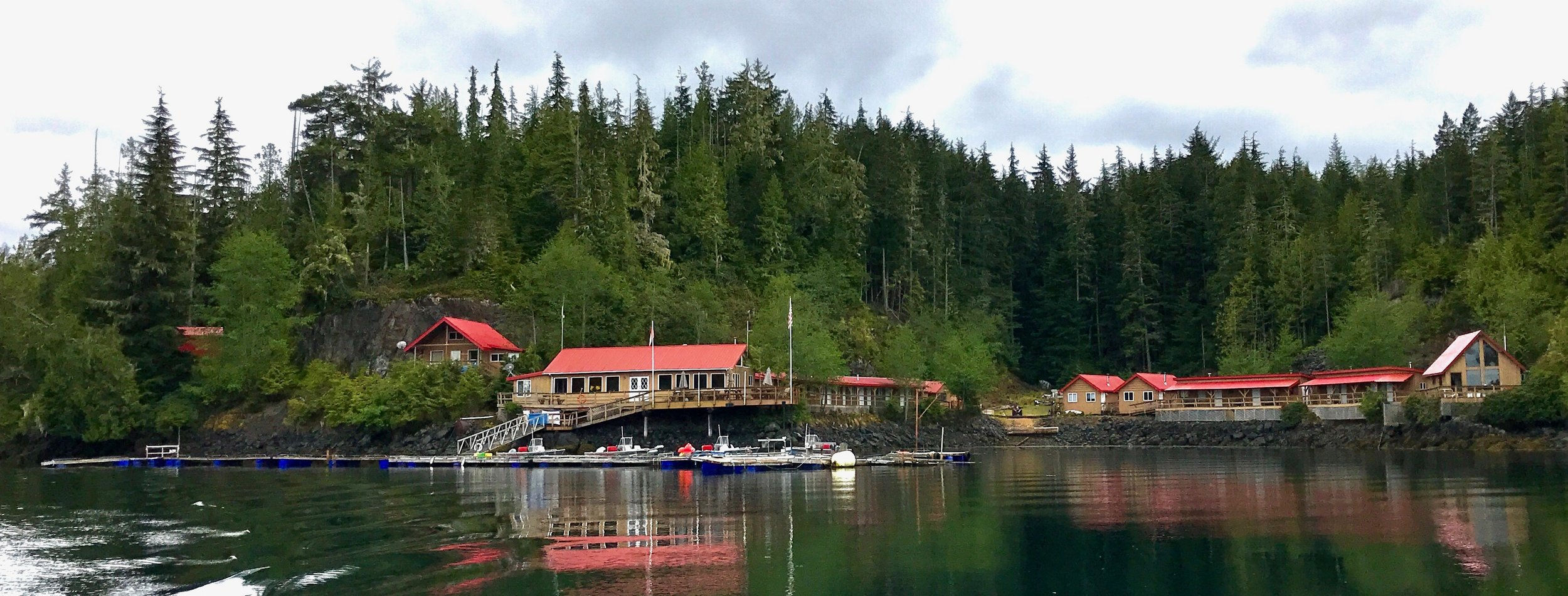 The former fishing lodge, Pacific Outback Resort, from the bay