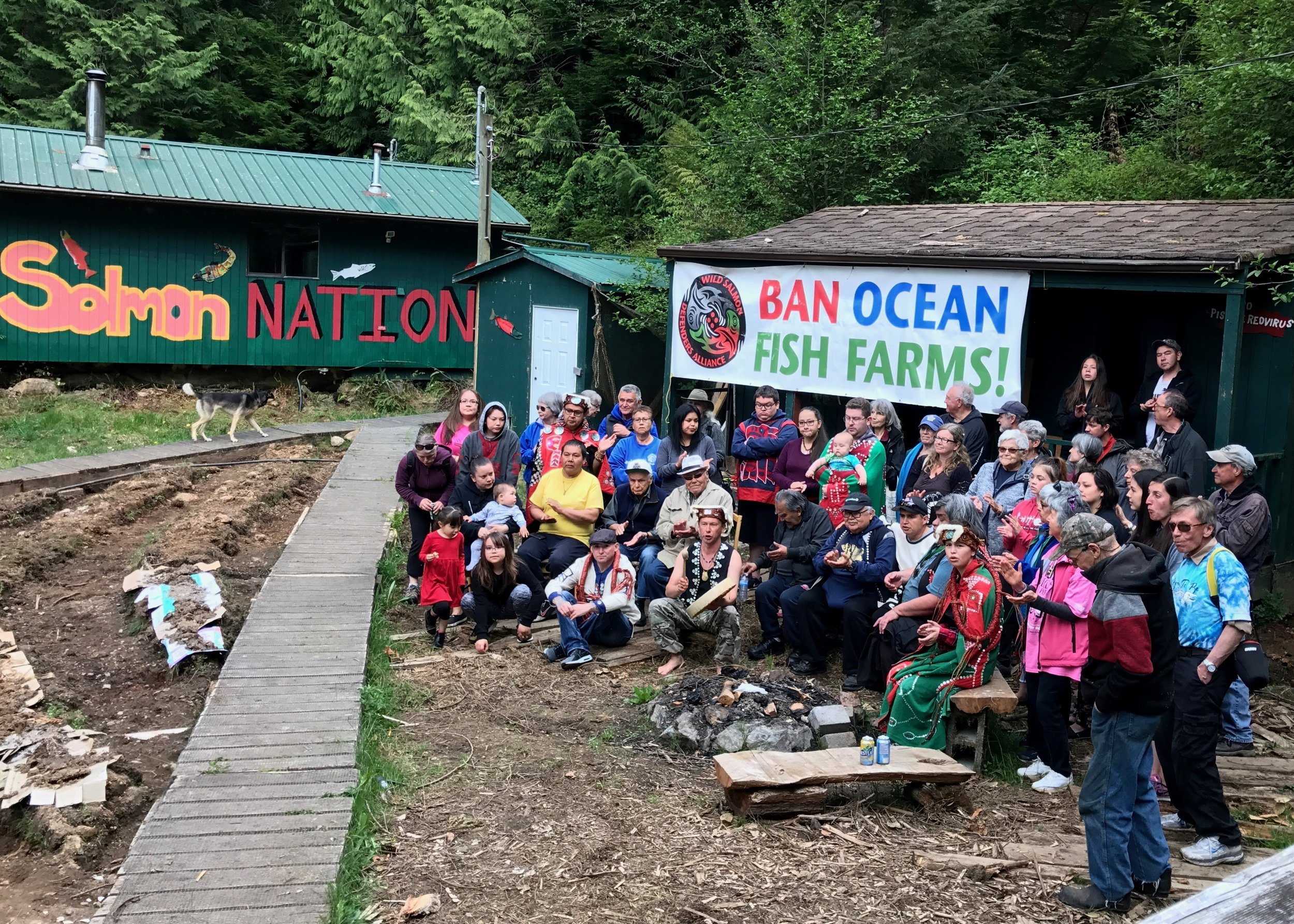 'Namgis First Nation Protest at Swanson Island Fish Farm. Photo: M. Reppy
