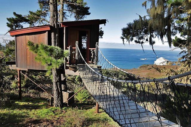 """Way up in the sky..."" 🐦🌲🏠#theTreehouse . . #theTreeHouse @treebonesresort #bigsur #ca #travel #treebonesresort #treehouse #fort"