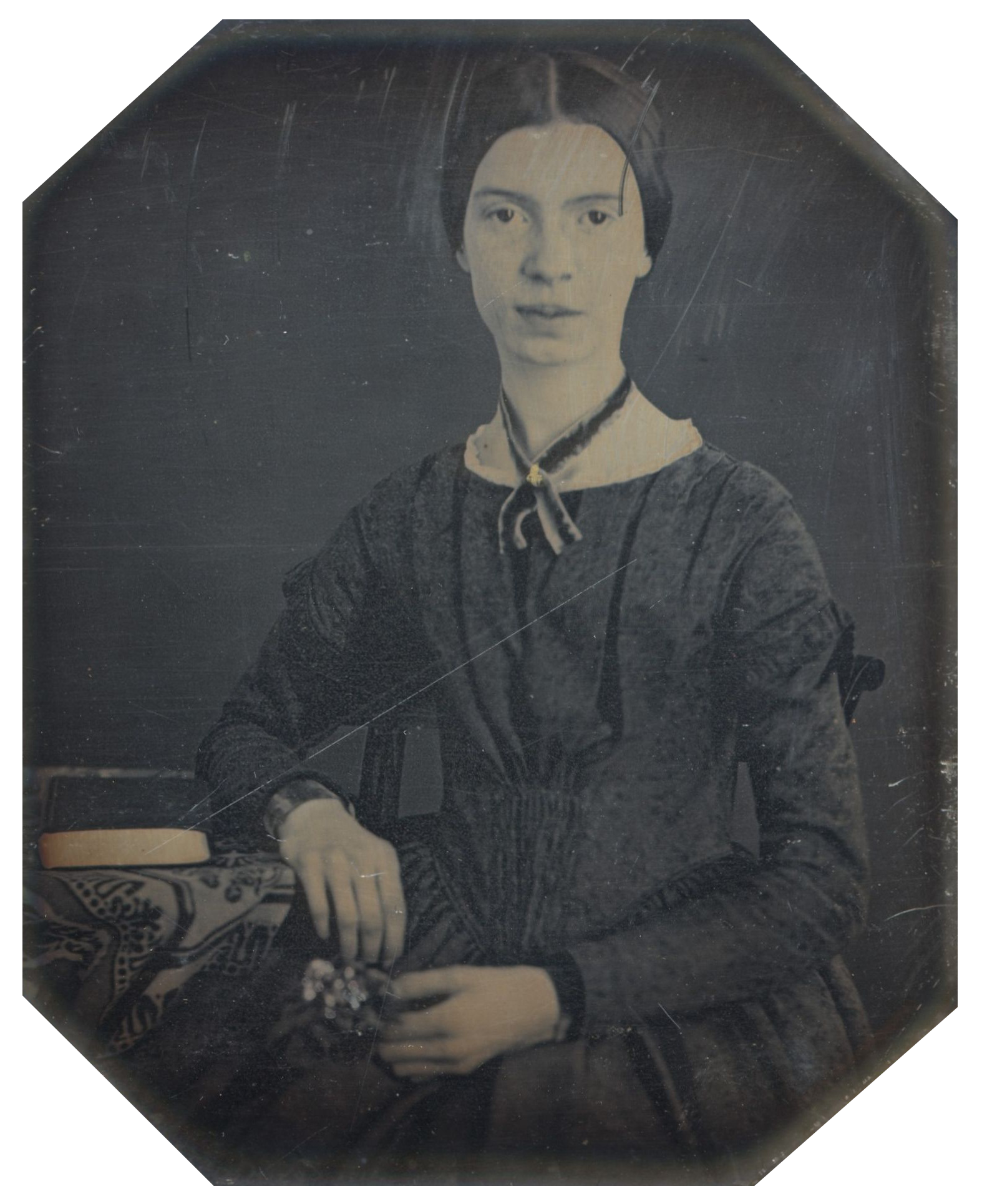 This daguerreotype taken at Mount Holyoke, December 1846 or early 1847 is the only authenticated portrait of Emily Dickinson after childhood. The original is held by Amherst College Archives and Special Collections. ( source )