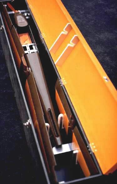 Model in a Box. Silvertone Weightlifter prototype in carry case. Designed and built by Alan Turton. (c.1974)