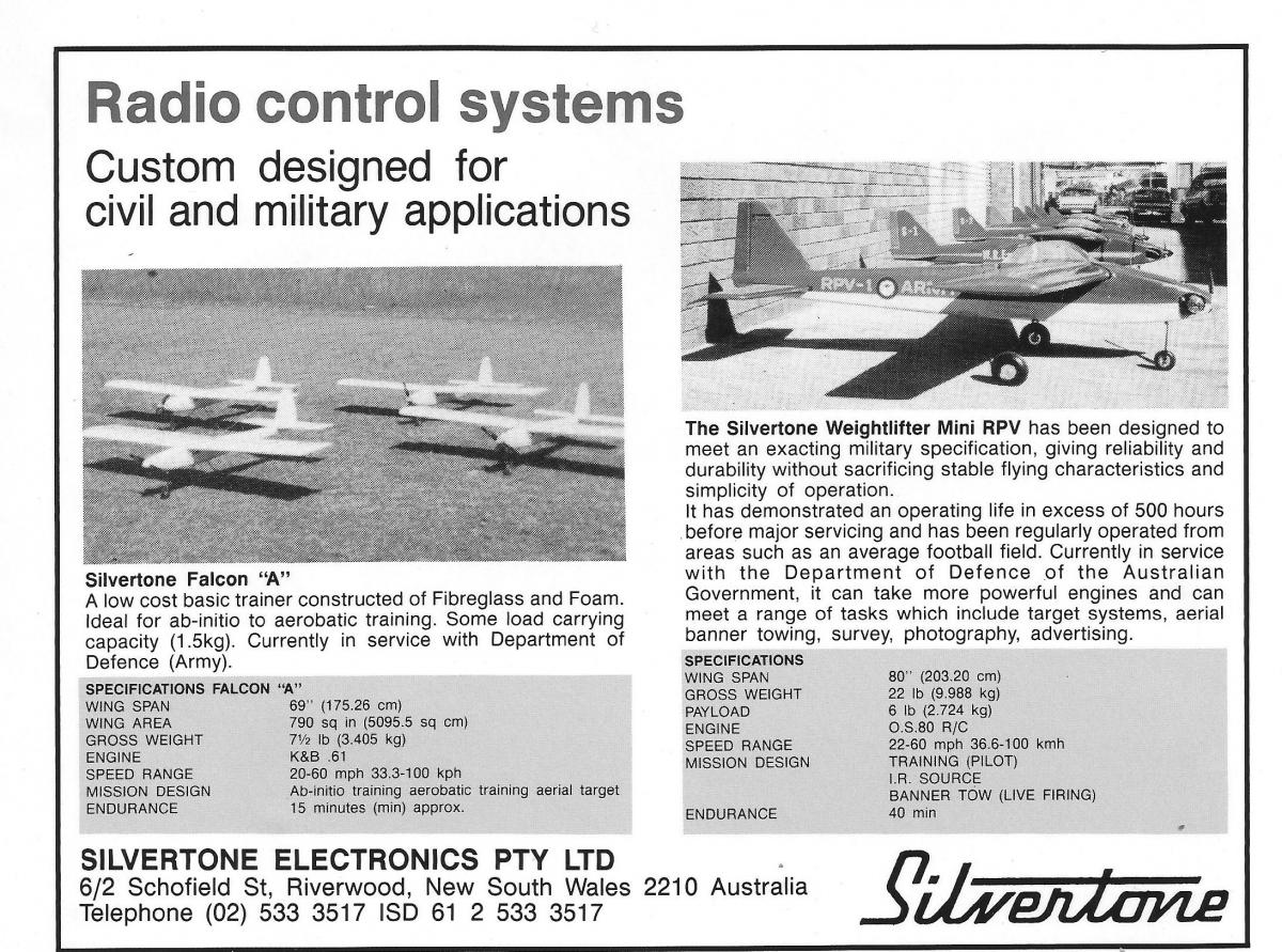 An advertisement from the Australian Defence Equipment Catalogue, 1985 – 86.