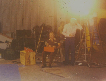 On the set of Safe Eddy and Alakazam in Denver, USA. Note the 32 channel TX on Bob's lap.