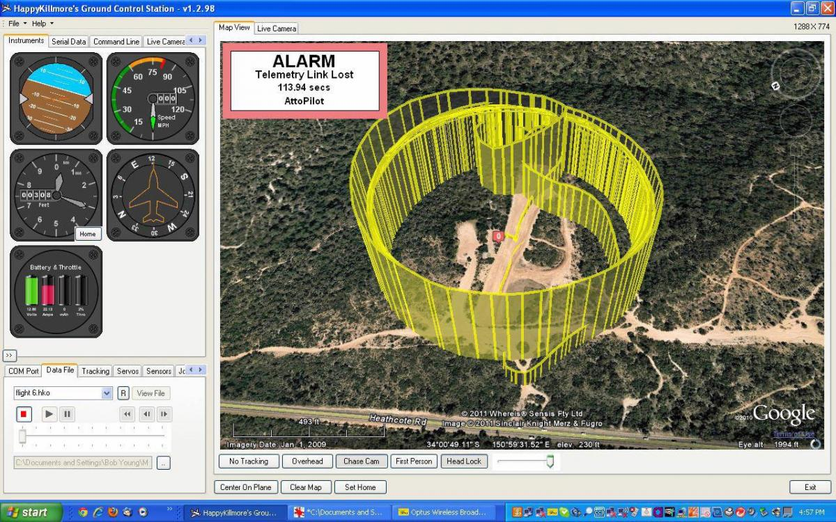 Happy Killmore's GCS display showing a 17 orbit flight plotted on Google Earth