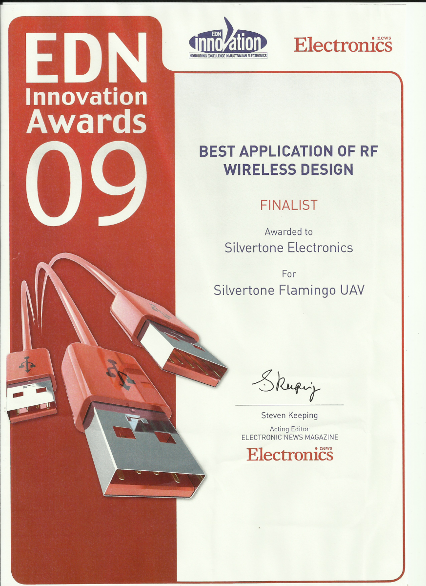 EDN Innovation Awards 2009 - Finalist Silvertone Flamingo UAV.png