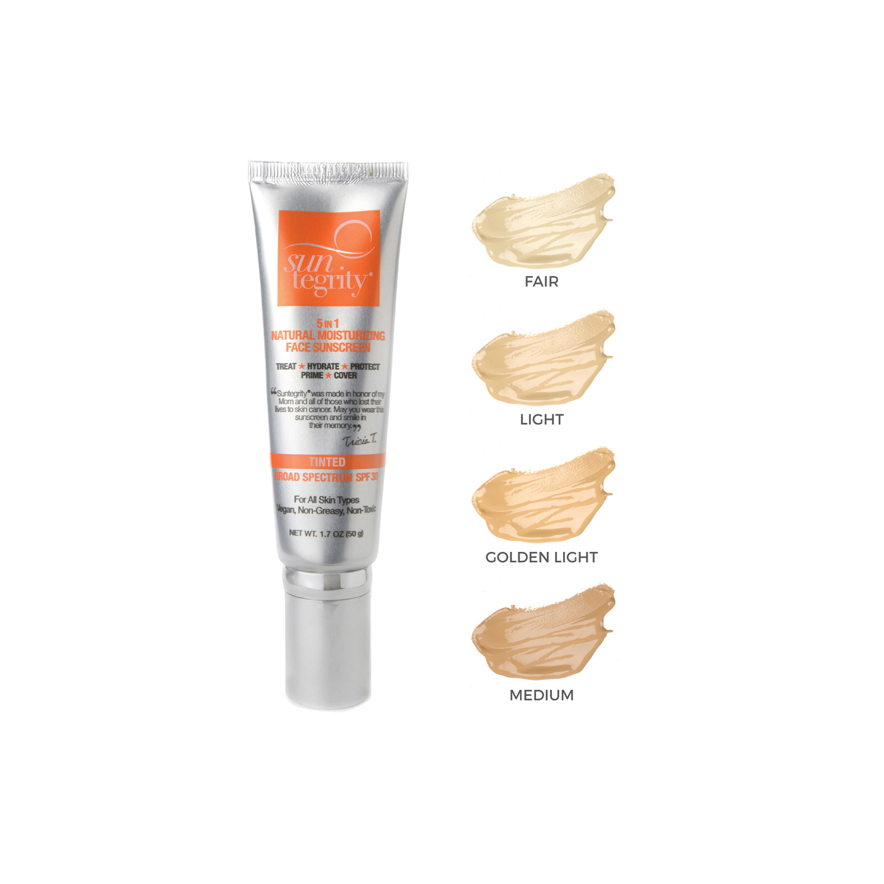 5-in-1 Moisturizing Sunscreen • $45   Tinted BB Cream  Broad-spectrum UVA/UVB protection. SPF30.