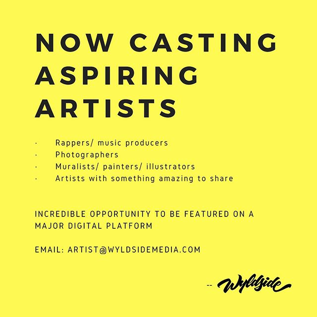 CASTING CALL: LOS ANGELES | NEW YORK | TRI STATE AREA  NOW CASTING ARTISTS AND PERFORMERS FOR VIRAL VIDEO -  We are a production company partnering with a major brand on a new digital series about people who chase their dreams late at night.We are specifically looking for artists and performers who are working a regular job to pay the bills during the day, and hustling to pursue their dreams by night. .  We are looking to cast creators in the following categories: · Rappers/ music producers · Photographers · Muralists/ painters/ illustrators · Artists with something amazing to share  Our show team will provide you with a creative challenge related to your passion, and a limited amount of time to accomplish it. We'll document every step of the way, and showcase your talent and artistic output on a national platform! .  Please email artist@wyldsidemedia.com with links to examples or samples of your work (on social media, websites, etc), along with a paragraph about yourself, your day job, and your artistic passions.  Minimum age requirement: 18+ years of age . . . . #sidehustle #arthustle #artist #illustrator #rapper #musicproducer #nowcasting #streetartdaily #badbitch #photograper #murals #dailyphoto #spraypaintart #instaartsy #wyldsidemedia #downtownla #ny #tristate