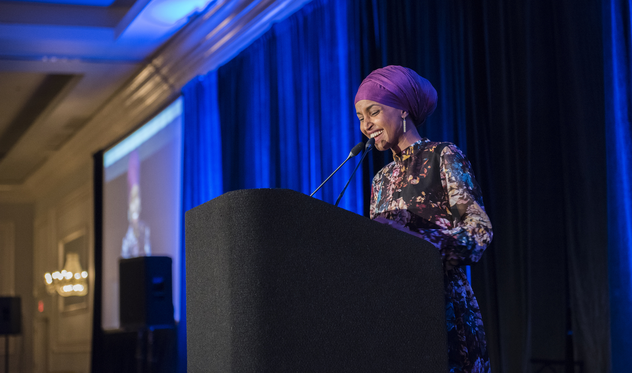 Pictured: Ilhan Omar delivers speech as the keynote speaker at the 13th Annual CAIR-Chicago banquet in 2017.