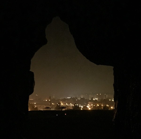 Peering to the outside world from the sacred coffers of the Great Pyramid, Egypt.