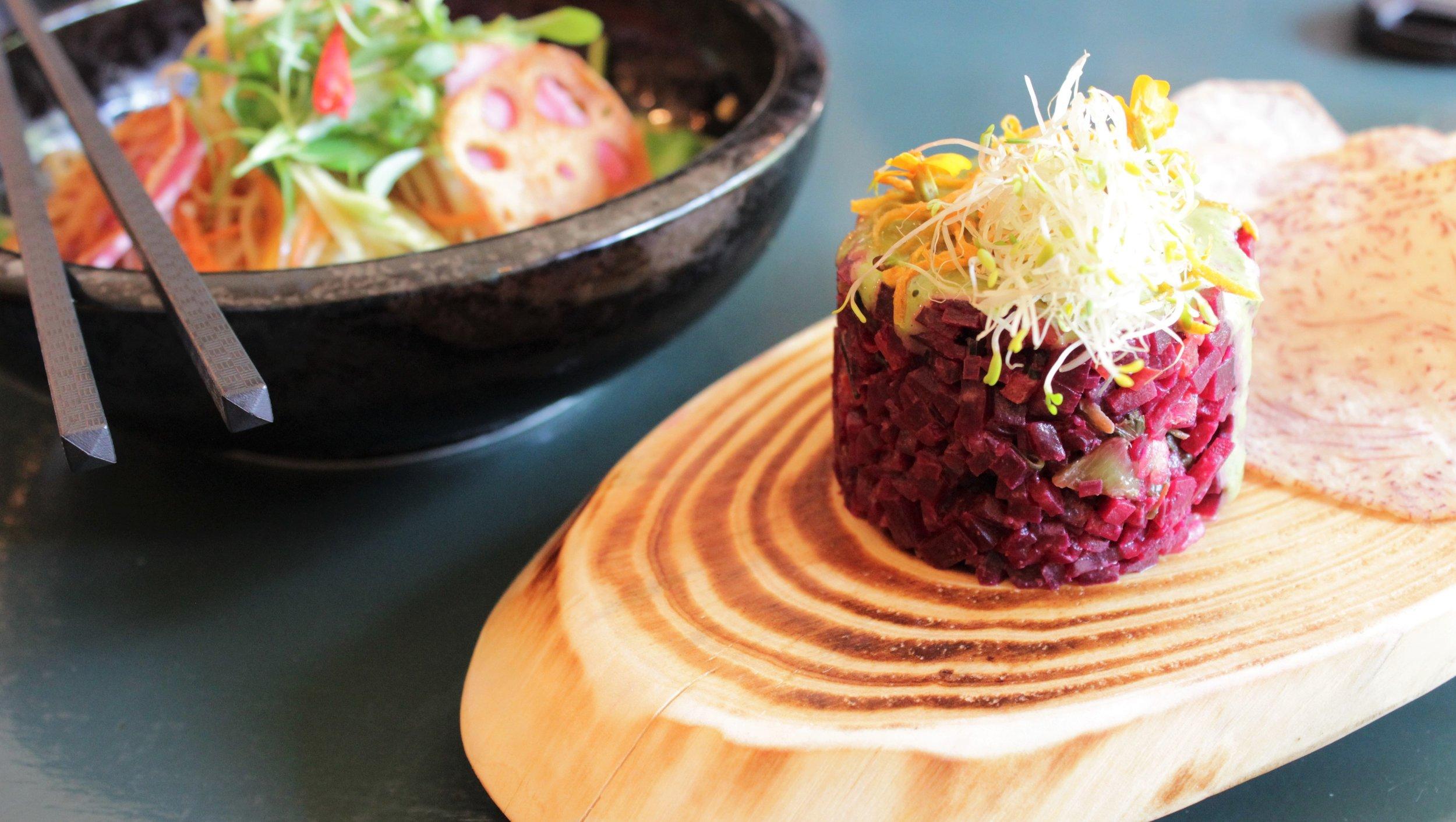 2nd service: Papaya Salad & Beet Tartar