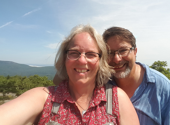 Jeanie and Steve Tomasko on a mountain in Maine (the wild blueberries were awesome!) They live in Wisconsin.