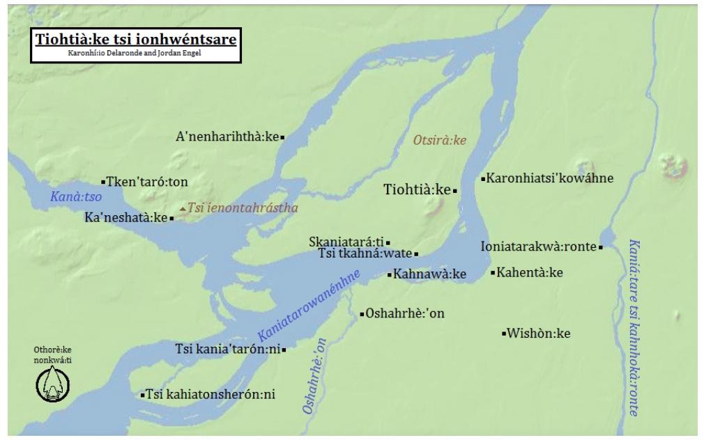 Tiohtià:ke tsi ionhwéntsare (Montréal, Québec) in Kanien'kéha (Mohawk), by Karonhí:io Delaronde and Jordan Engel. ( https://decolonialatlas.wordpress.com/2015/02/04/montreal-in-mohawk/ )