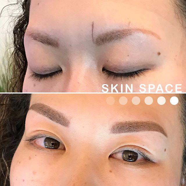 ALL THE WAY FROM JAPAN 🇯🇵🥰🥰 my client couldn't find an artist she trusted to correct her brows. She was told she would have to get removal to update her look but I was able to neutralize the orange tone and give her a much more symmetrical brow. This is my favorite transformation this year. I love seeing the relief and renewed confidence my clients experience at a brow correction!