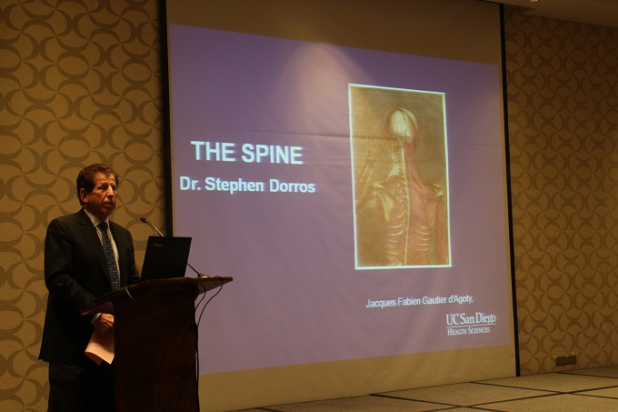Dr. Steven Dorros of UCSD Medical School delivering a speech