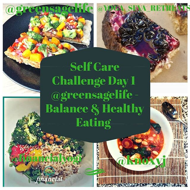 """@greensagelife says Different plants provide different nutrients. That's why it's always a wise idea to vary the foods we eat day to day, week to week, to ensure a well-balanced diet.  One simple rule of thumb is to """"eat the rainbow"""" and create meals that feature a broad spectrum of deeply colored fruits and veggies, legumes, grains, nuts and seeds.  Doing so helps ensure that we're getting the full range of vitamins and minerals, antioxidants and other beneficial nutrients that enable us to thrive.  Eating healthfully is one of the most important and essential forms of self care we can dedicate energy to. Our mental, physical and emotional states depend heavily on getting the food part right, so it's worth the extra effort to eat a well balanced diet of whole plant foods.  I'm obsessed with any kind of """"toasts"""" My picture is of a sprouted grain bread with homemade preserves and almond cheese spread. Second picture is sauteed mushrooms, peppers and onions that I added on top of greens. Eat the rainbow!  Today's challenge: Prepare a multi-colored plant-based meal for yourself and share a photo. Be sure to tag the hosts (@knoxyj @financialyogi @greensagelife) and sponsors (@yoga_seva_retreats and @prakazita) in your post, and use the hashtag #selfcareisadiscipline #instagramchallenge #igchallenge #selfcare #findyourbalance"""
