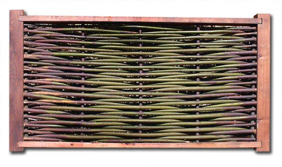 Maximum Density Single Weave Wattle Panel with Copper Verticals and Redwood Frame