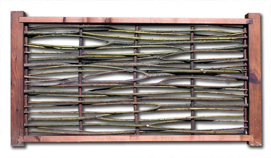 50% Density Single Weave Wattle Panel with Copper Verticals and Redwood Frame