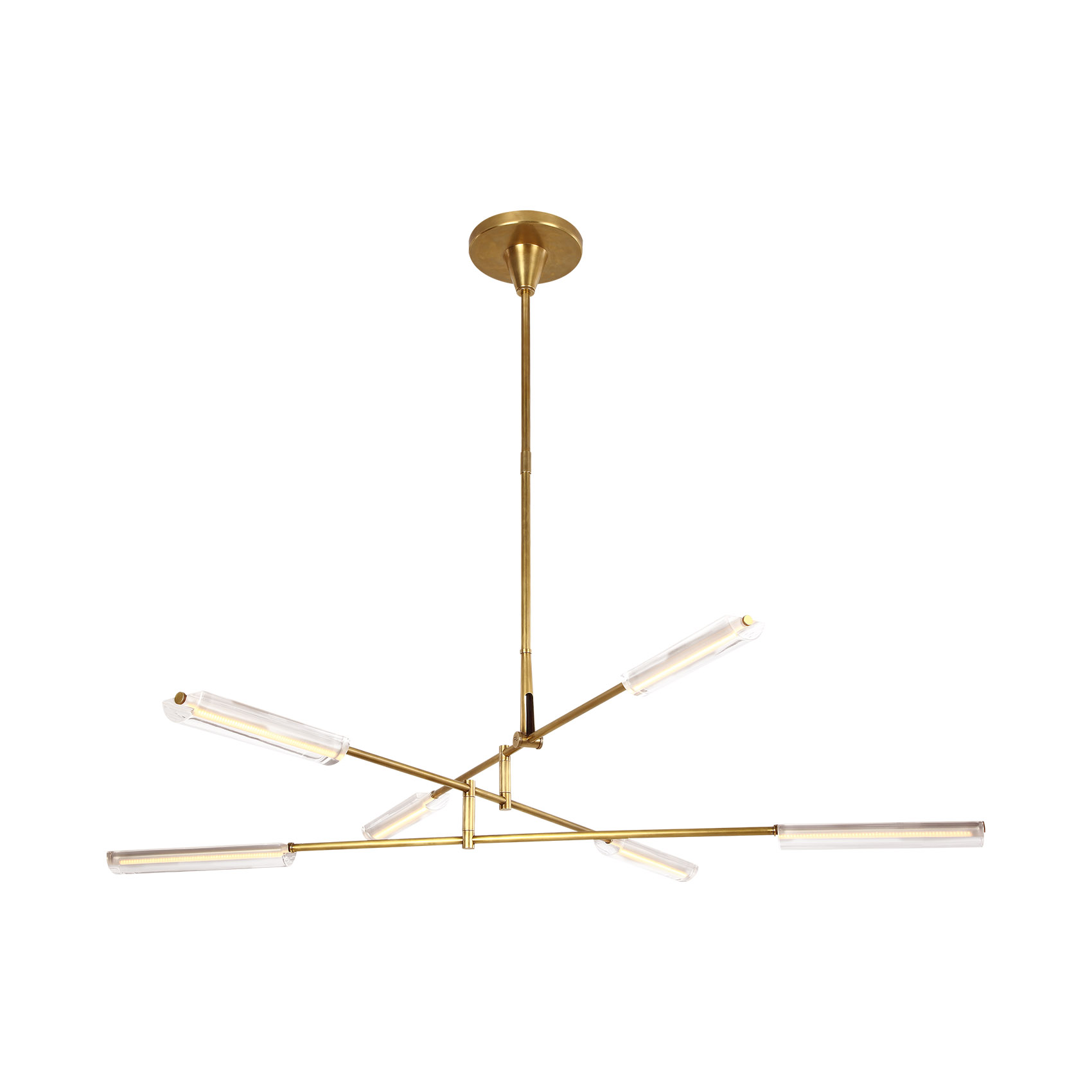 Daley Large Six Light Chandelier in Natural Brass with Clear Acrylic.jpg