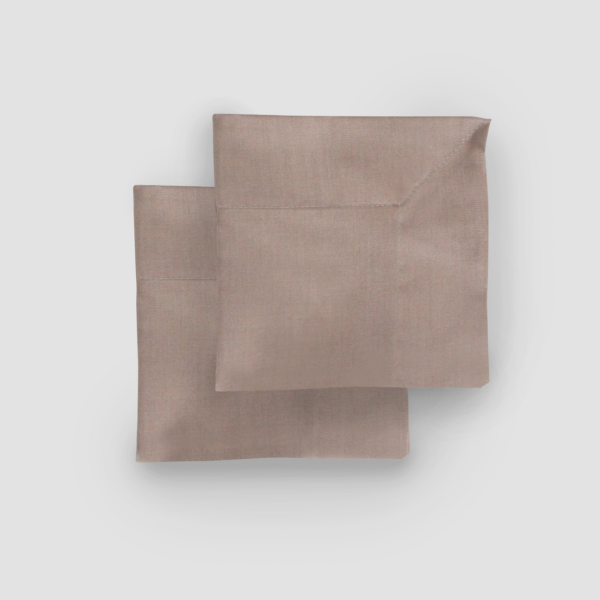 TAUPE | LINEN/COTTON  Size: 50 x 50 cm with 5 cm edge  IDR 5,000/per piece  Qty Available: 150 pcs