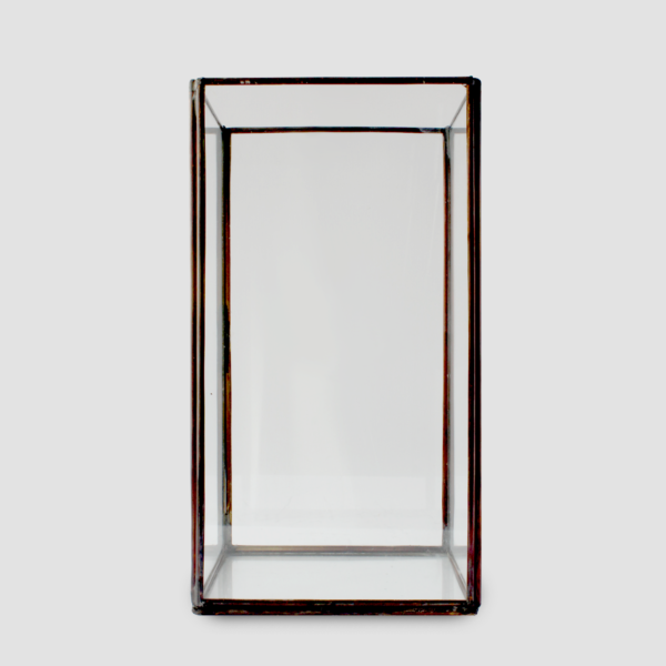 NORDIC CANDLEHOLDER (L) | BLACK  Black iron with glass panels Size : L 14 x W 14 x H 25 cm  IDR 50,000/per piece  Qty Available: 12 pcs