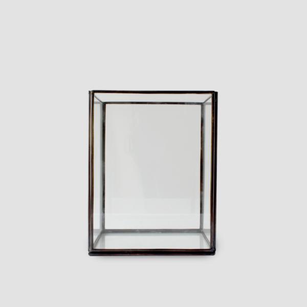 NORDIC CANDLEHOLDER (M) | BLACK  Black iron with glass panels Size : L 14 x W 14 x H 17 cm  IDR 50,000/per piece  Qty Available: 22 pcs