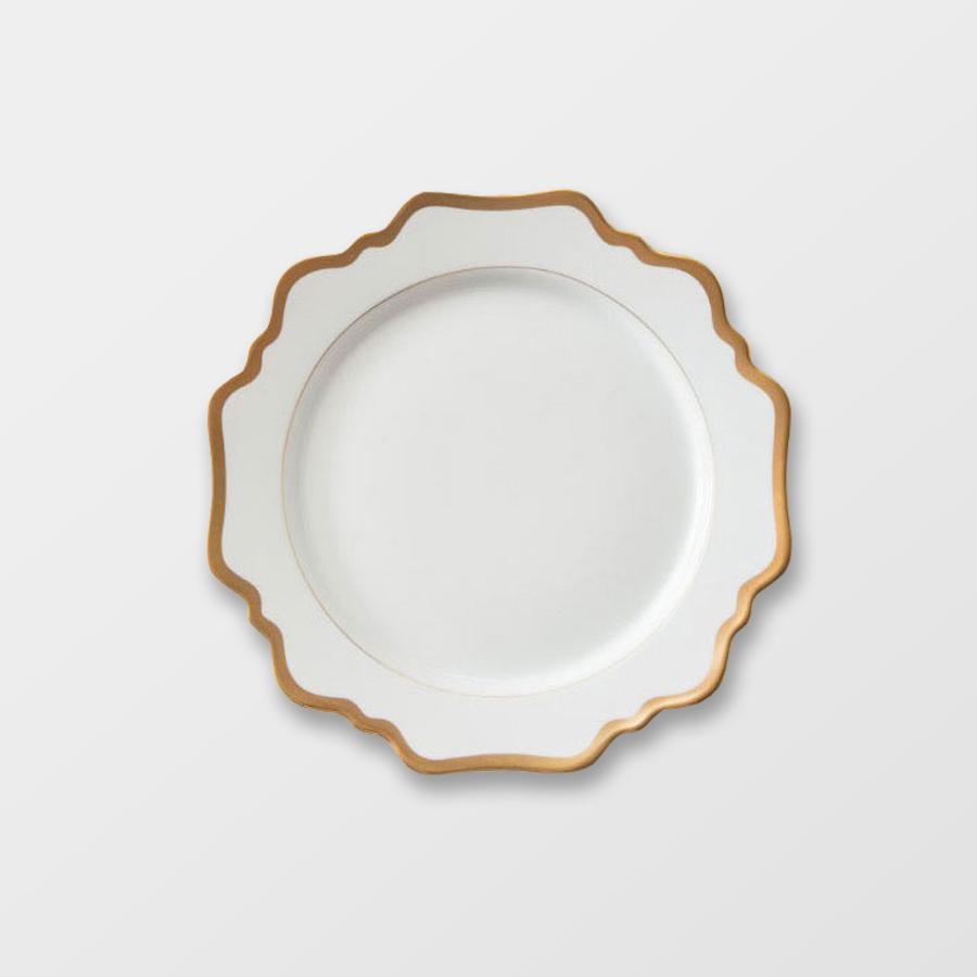 MARGOT SALAD | WHITE WITH GOLD RIM  Porcelain Size : Diam. 21.5 cm  IDR 28,000/per plate  Qty Available: 200 pcs