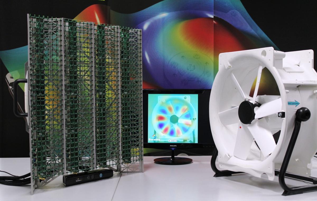 Sorama Cam with 1024 MEMS microphones visualising the blades of a ventilator