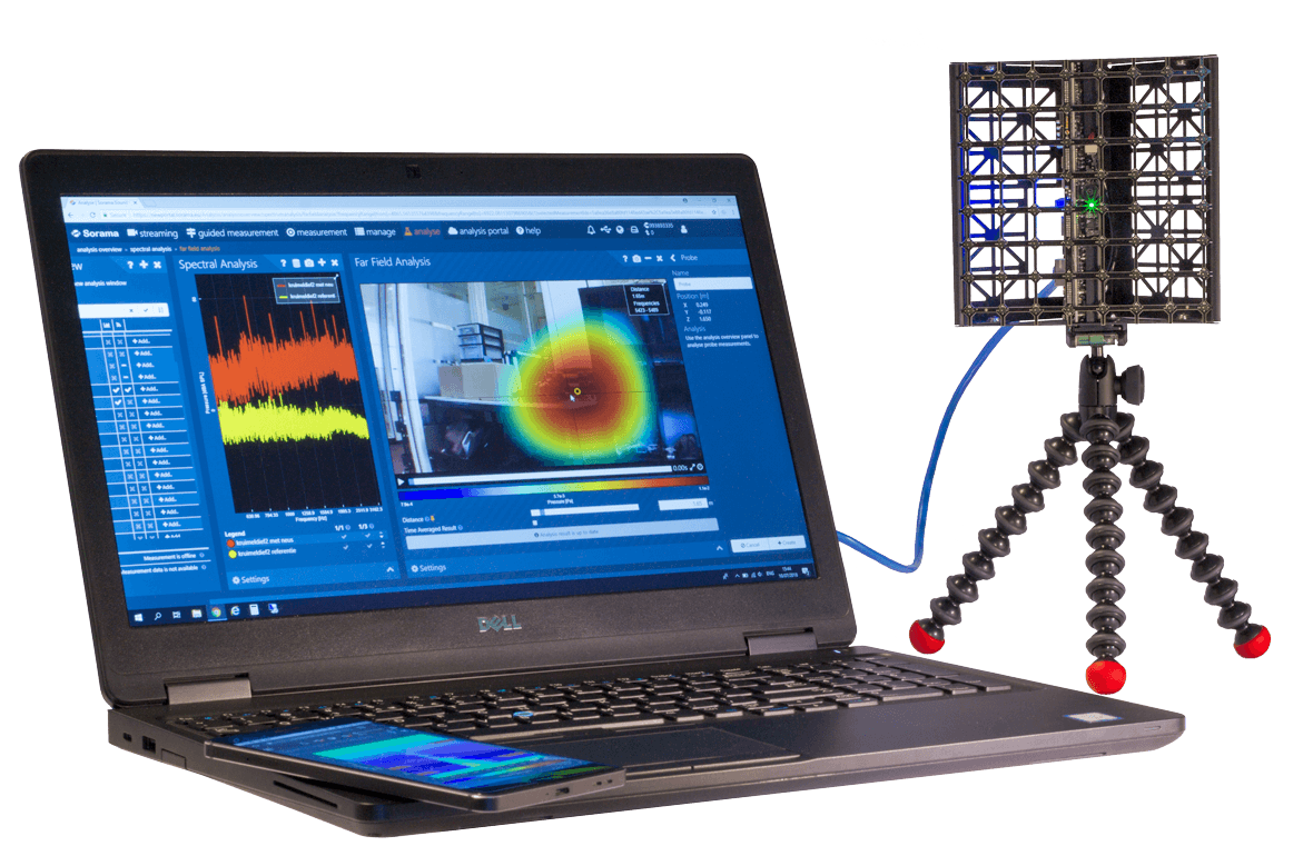 Easily measure and analyse sound in the Sorama Portal. Connect one of our acoustic cameras and start improving the sound design of your product.