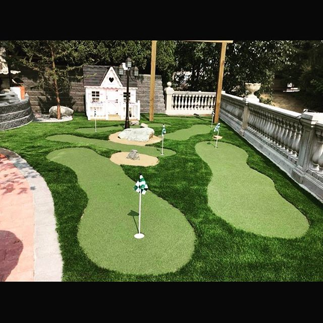 Putting greens installed by Tanner's Turf.  Relax and play golf in your backyard!  #turfmanagement #turfgrass #tannersturfservice #tannersturf365green #365green #lawncareservice #puttinggreens #puttinggreensoutdoor #puttinggreensbackyard #lawndesign #syntheticgrassinstalls #synthecticputtinggreens