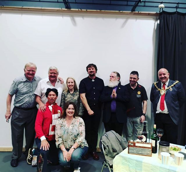 What a huge thrill it was to welcome @wrexham_afc legend Dixie McNeil (pictured here back row 2nd from left) to Tŷ Pawb for Friday's performance of 'Dixie or Me', a comedy play about love, football and obsession - part of our #futbolka exhibition  The play was written by Peter Read - pictured here on the far left with Dixie, the cast, and Mayor of Wrexham, Cllr Rob Walsh  @wrexhamfc_fanpage @wrexhamcbc @fawales #football #wrexhamfc