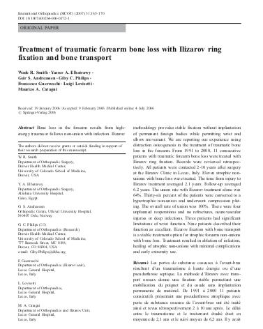 Treatment of traumatic forearm bone loss with Ilizarov ring fixation and bone transport