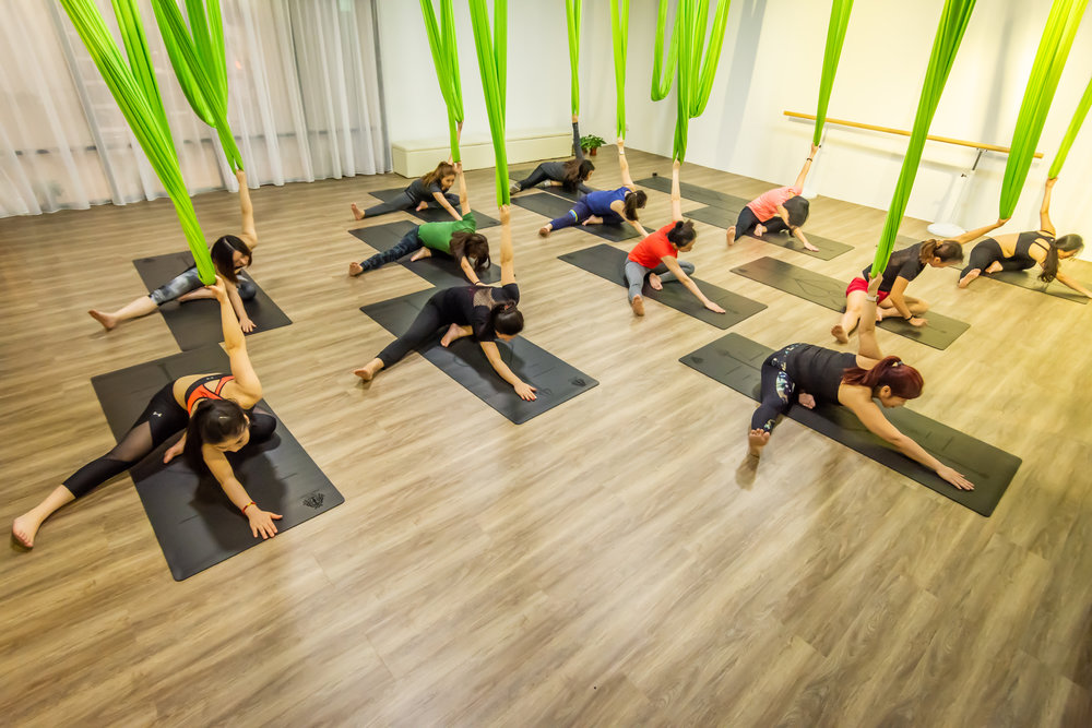 Aerial Yoga class at Dream Dance and Yoga studio in Singapore