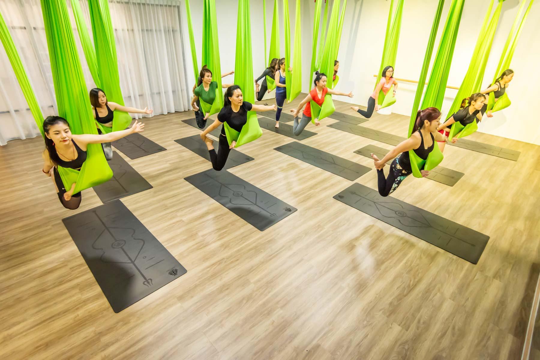 Aerial Yoga class at Dream Dance and Yoga studio in Singapore