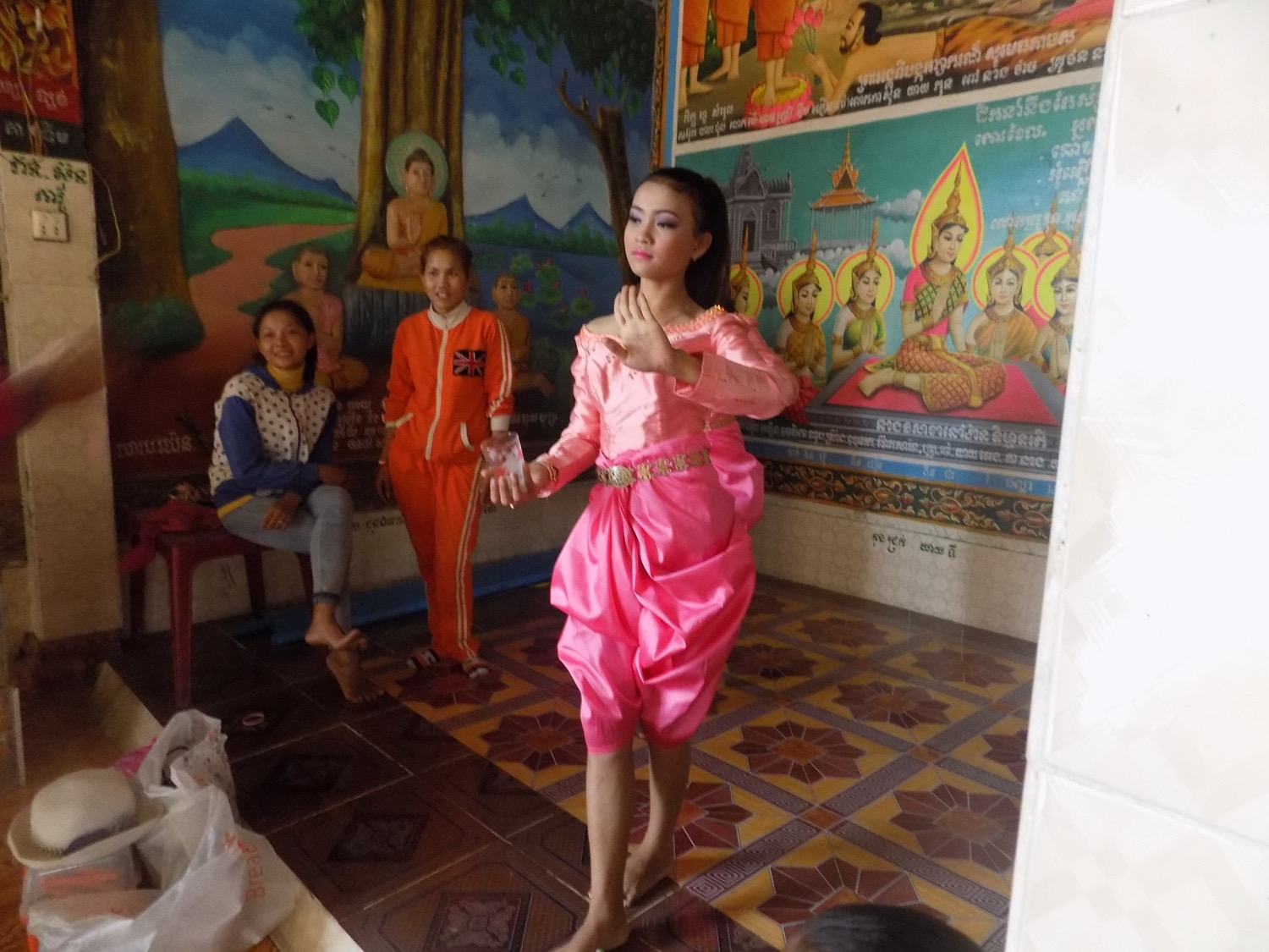 This is one of Narak's friends performing a traditional Khmer dance at the pagoda.