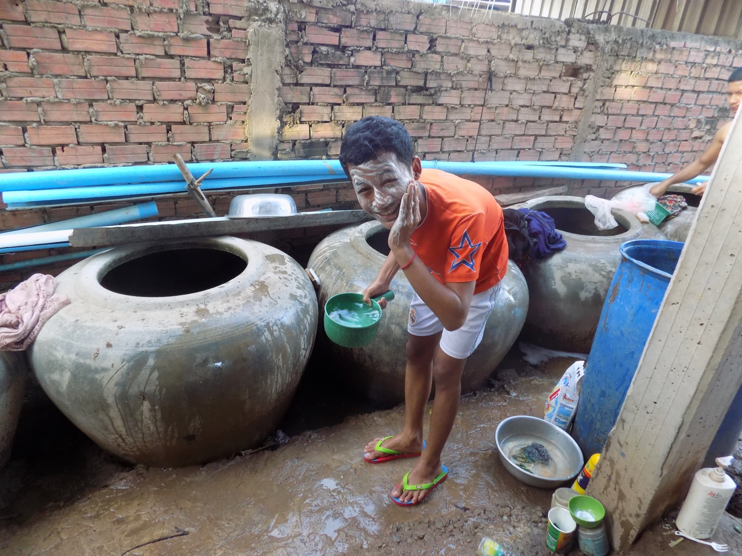 Narak gets ready in the morning by taking a shower and washing his face.