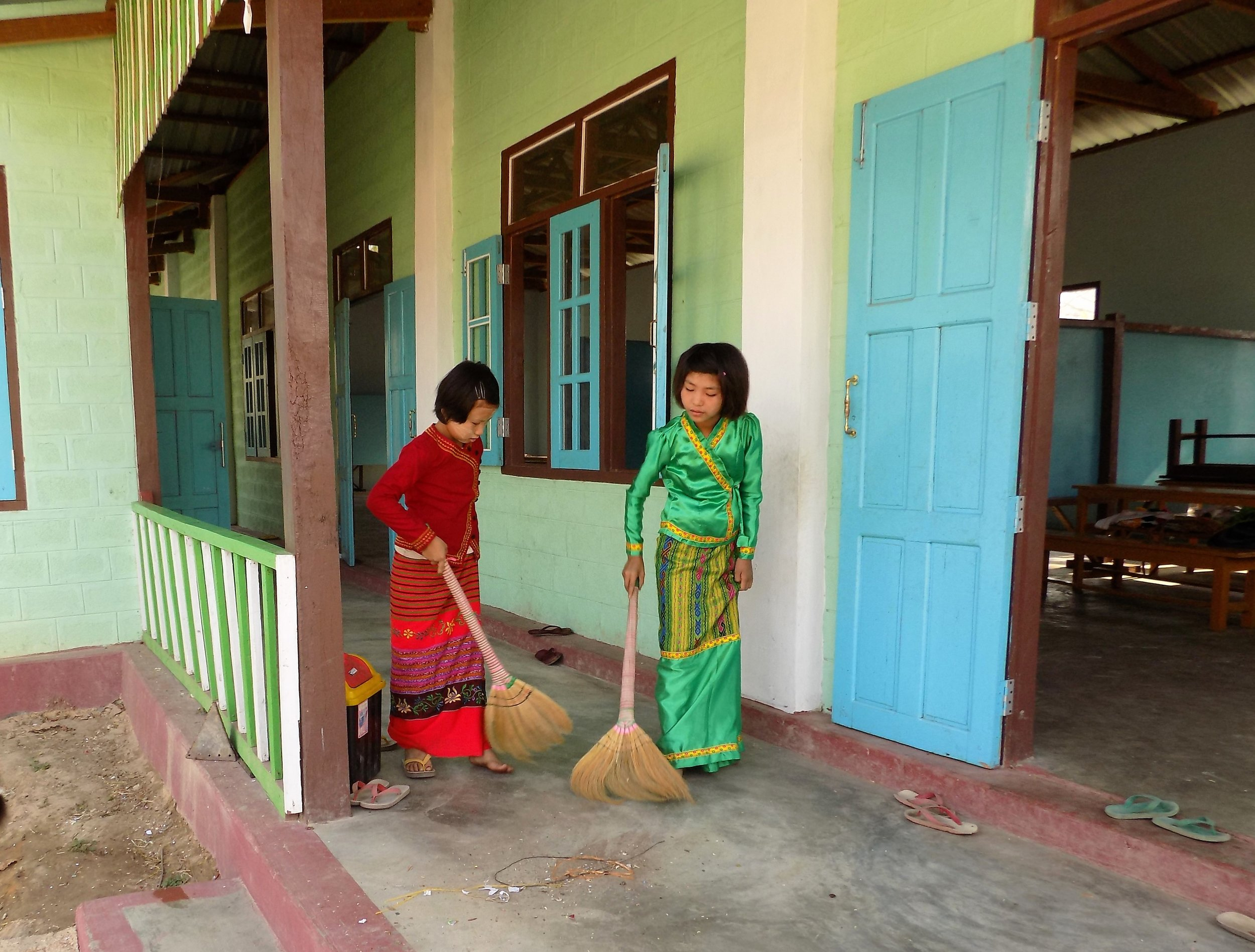 She and her friends clean the outside of the school as well!