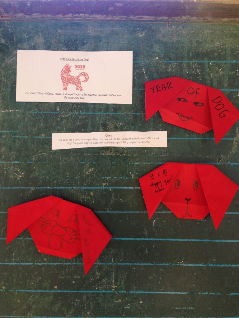 Traditional paper art for Lunar New Year. Crafts from five countries were made in celebration of the Year of the Dog! These paper pups are filled with good wishes for friends and family.