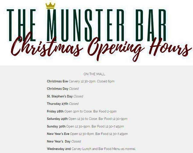 Our Christmas opening hours for all our loyal customers 🎅🏼⛄️