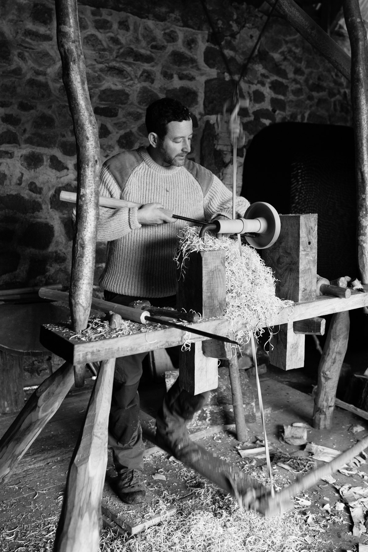 Sharif Adams / Wood Turner / North Bovey - Specialising in ancient woodturning techniques, some of which date from the Iron Age, Sharif uses a traditional pole lathe powered by a treadle to turn bowls, pots, cups, flasks and boxes, sourcing wood from sustainable Dartmoor forests. Sharif works in beautiful stone threshing barn on a working farm near North Bovey. During Sharif's demonstration, you will see him practise this age-old skill to craft a wooden bowl. Using a pole lathe requires a moderate amount of physical energy but it is great fun and can be a real challenge. No previous woodturning experience is required
