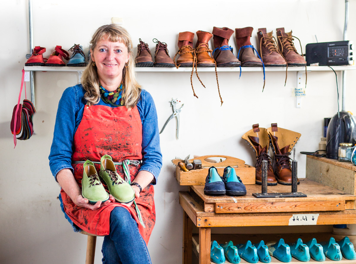 Alison Hastie, Green Shoes, Moretonhampstead - With her company, Green Shoes, listed as one of world's most ethical shoemakers, Alison Hastie and her small team hand-makes footwear to order, using full-grain leathers and vegan alternatives. Her workshop is in a beautiful chapel in the artisan town of Moretonhampstead. You'll be treated to a personal guided tour of her workshop, where Alison will show you how she hand makes her shoes from scratch.