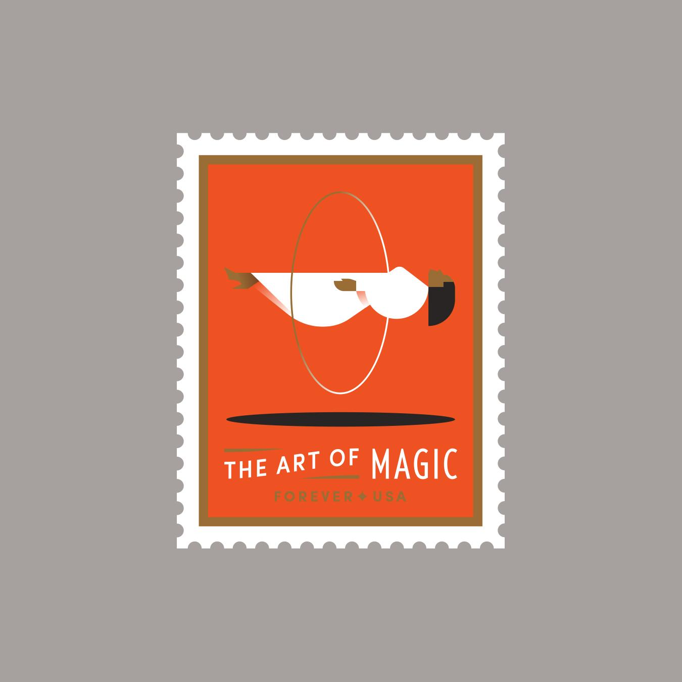The Art of Magic Levitating Woman Stamp