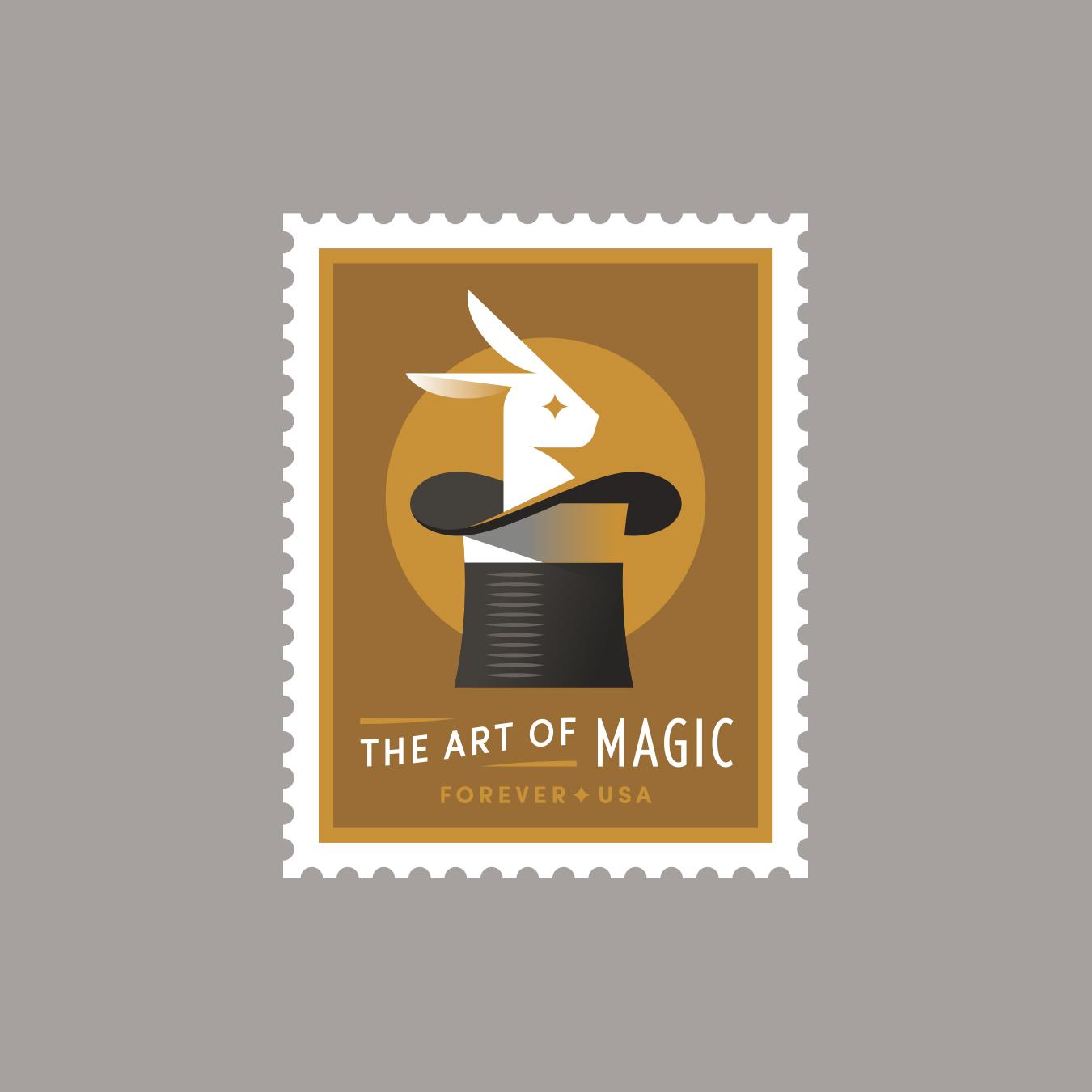 The Art of Magic Rabbit Hat Stamp
