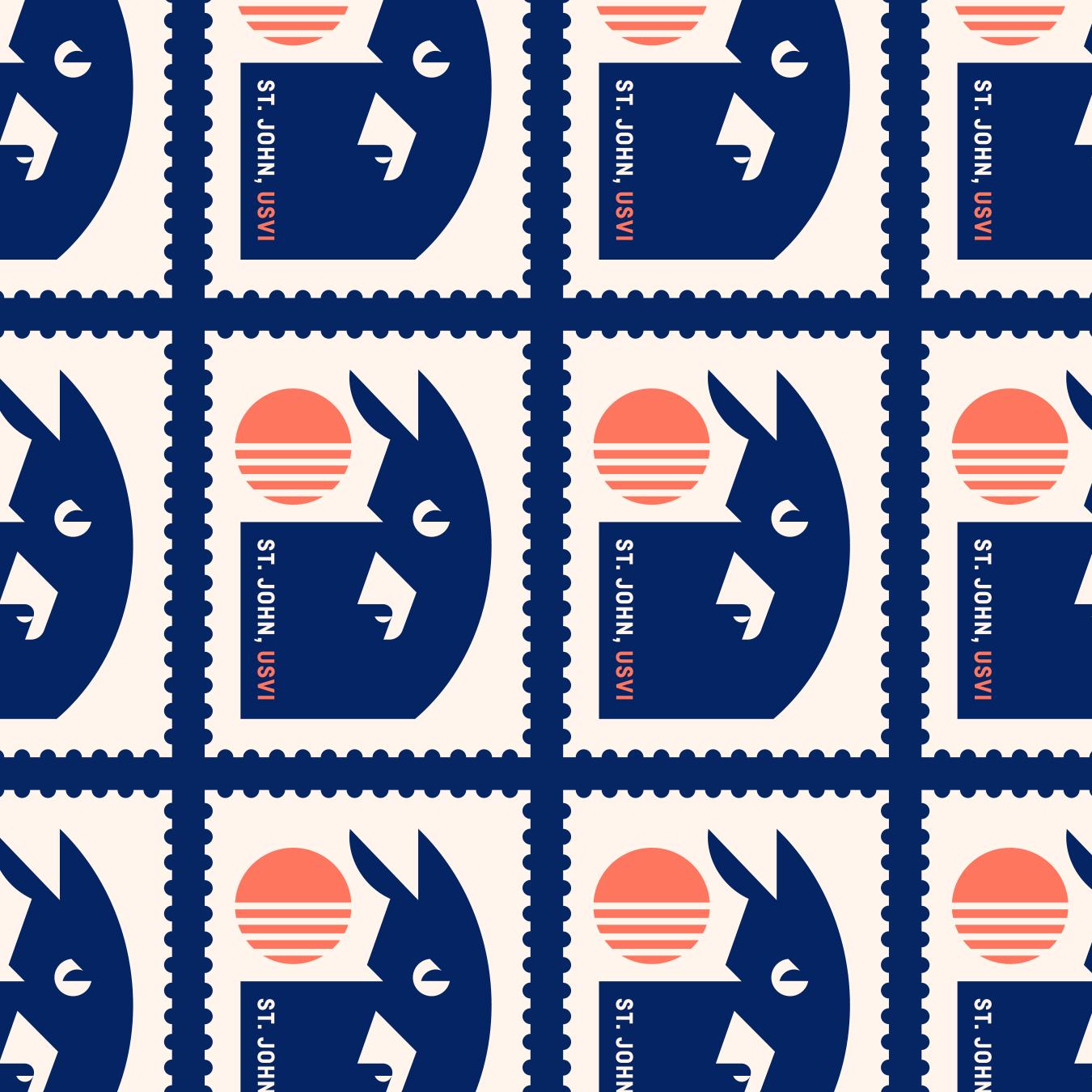 Saint John, USVI Donkey Sunset Stamp