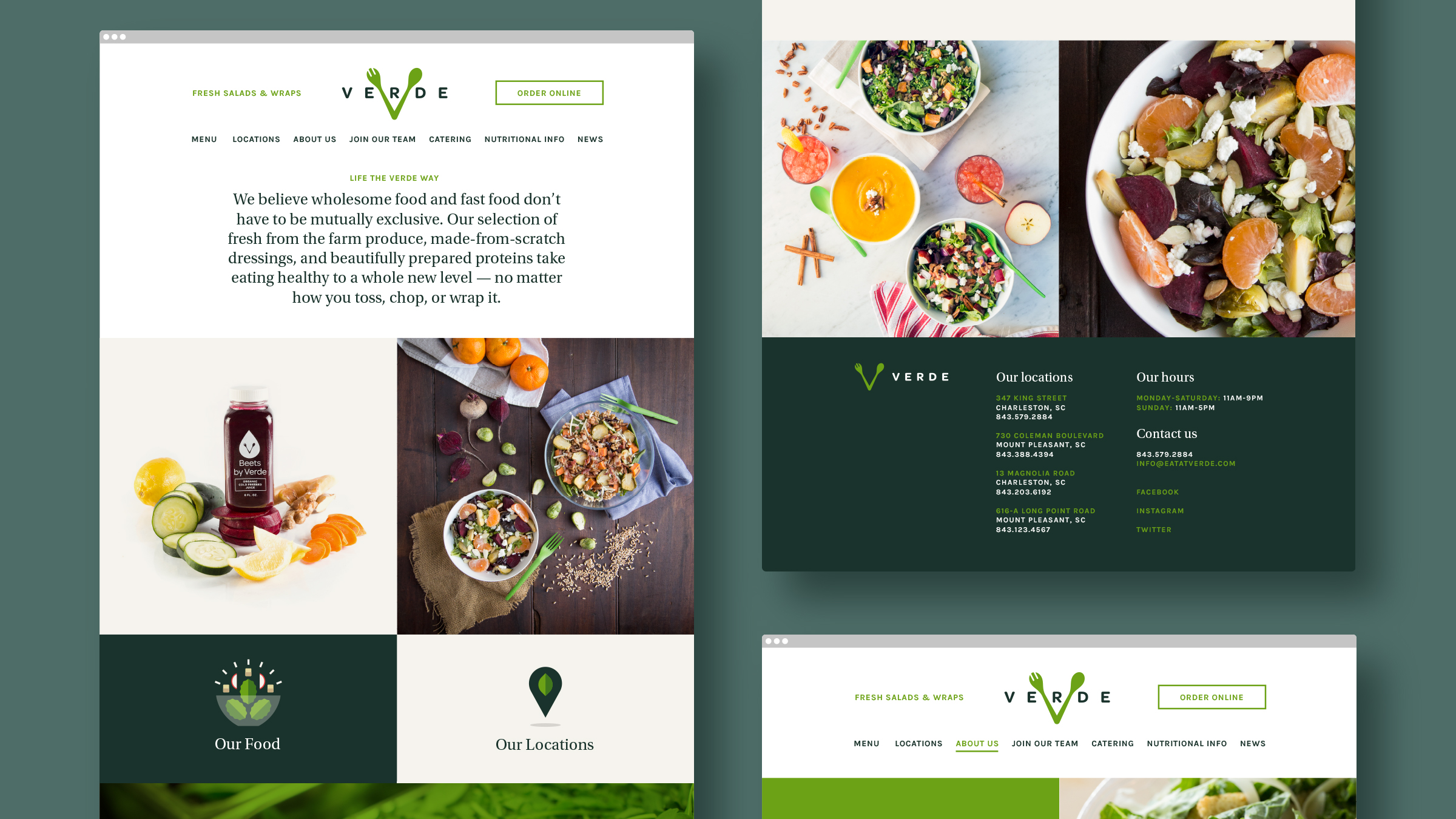 Verde Salad Restaurant Website Design