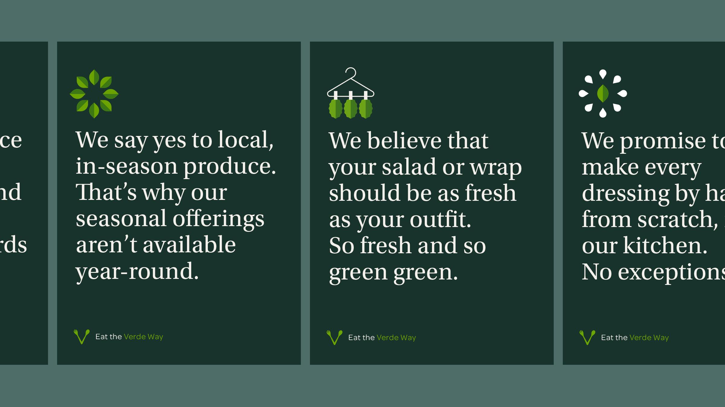 Verde Salad Restaurant Motto Cards