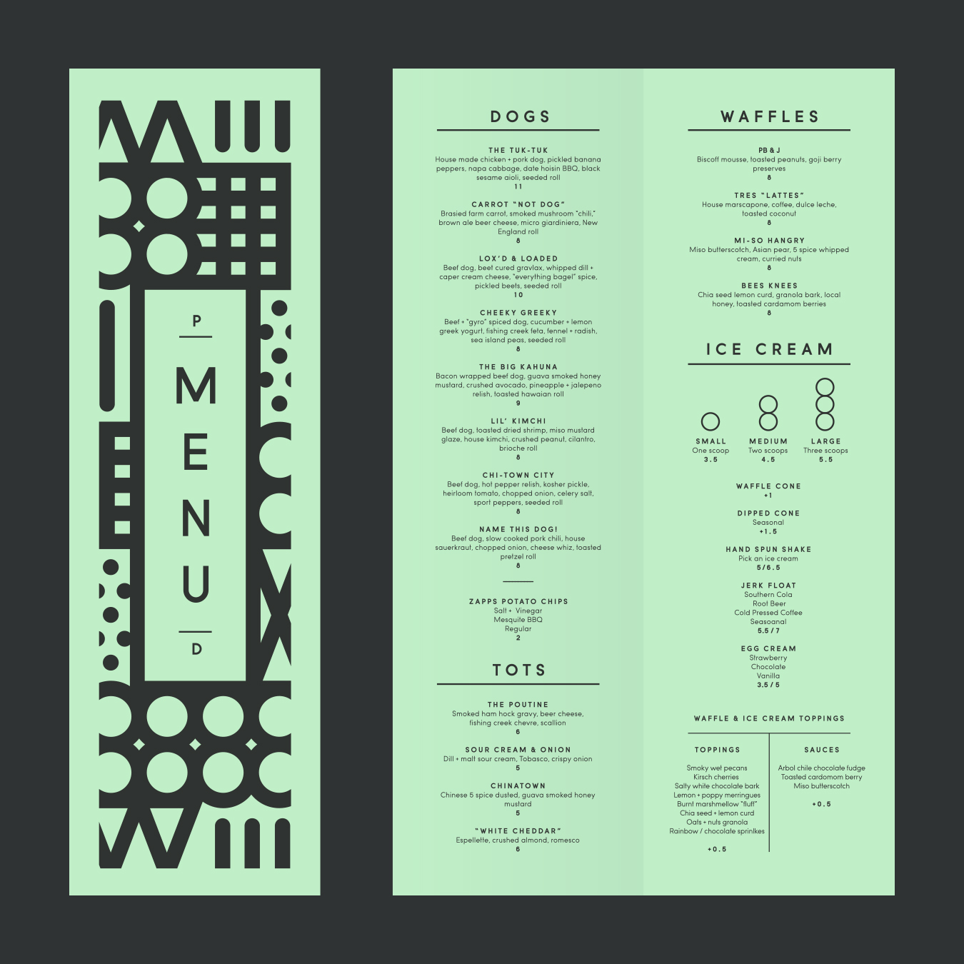 Parlor Deluxe Menu Design